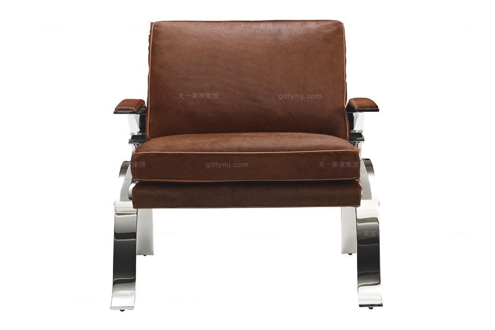 高端品牌美式进口真皮休闲椅