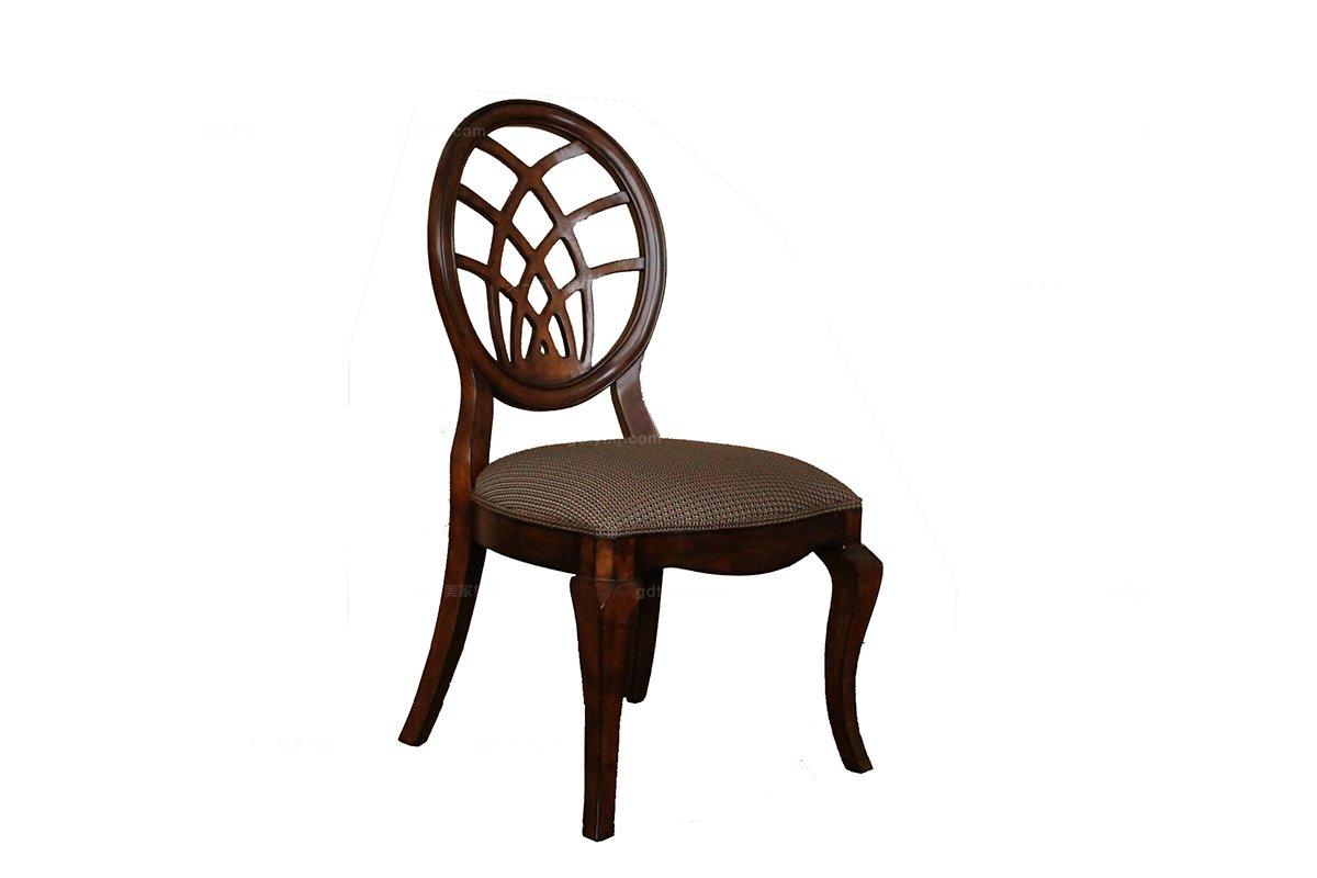 高端品牌别墅蓝冠注册实木美式圆背布艺餐椅