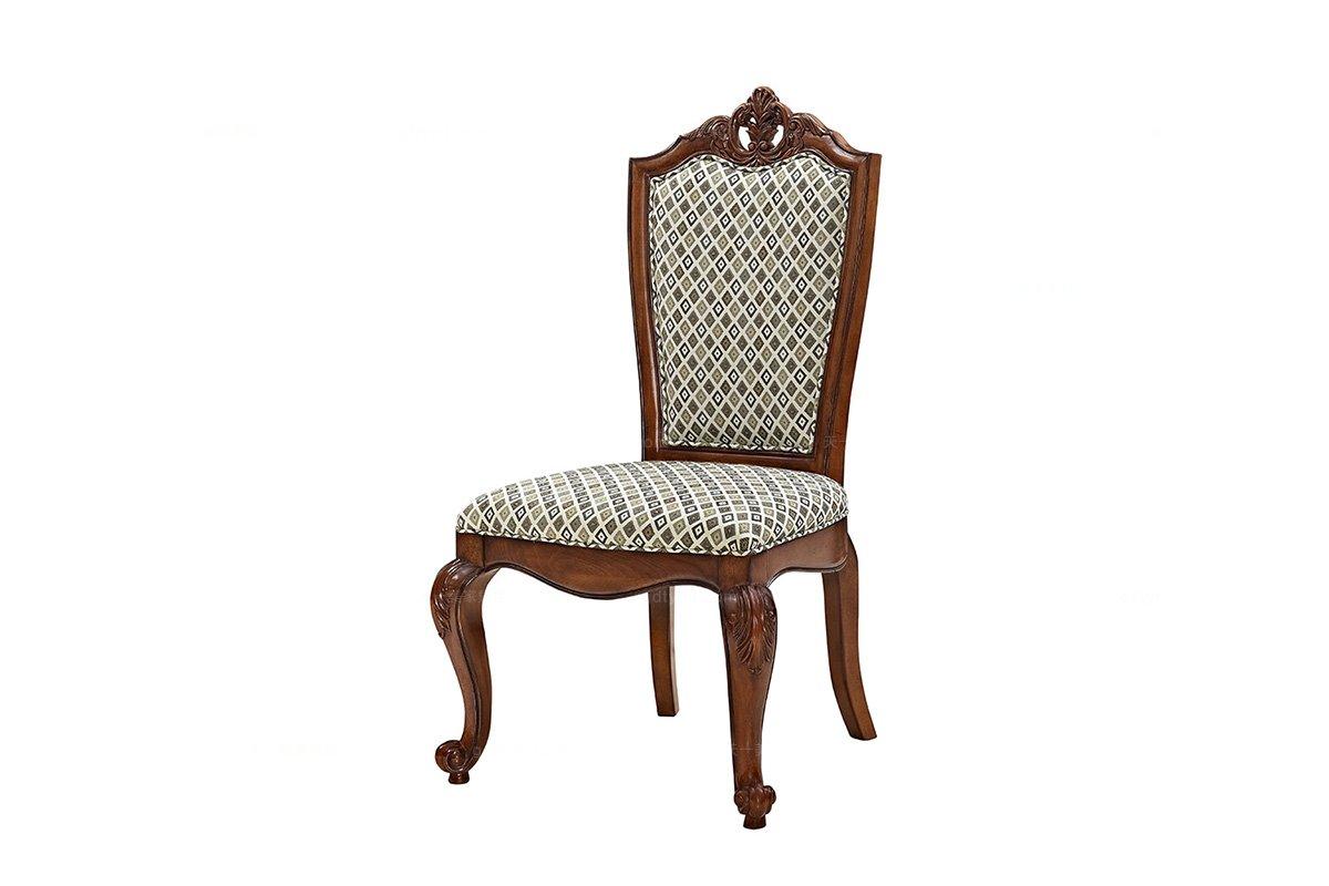 高端湖南别墅蓝冠注册实木美式布艺餐椅