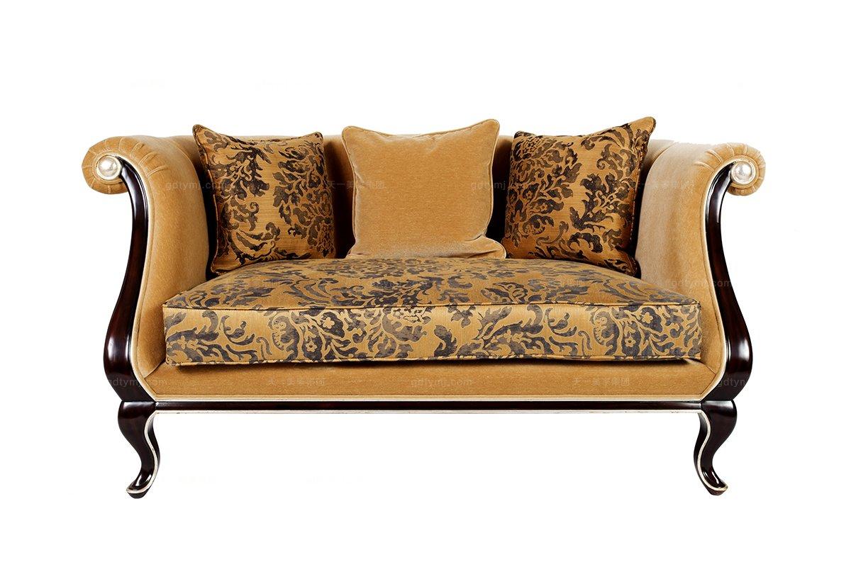 高端新古典格绒布艺双人沙发