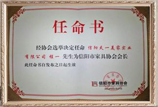 信阳市蓝冠注册协会任命书