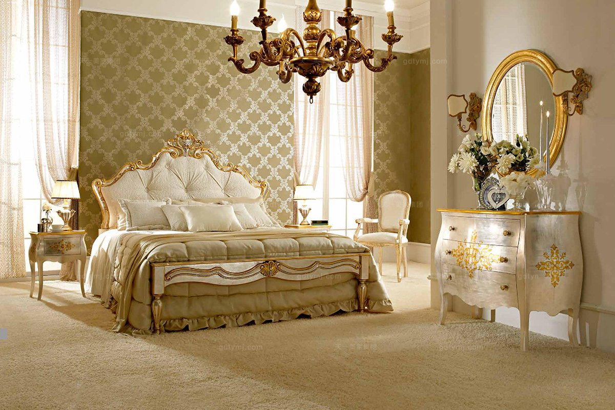 Andrea Fanfani 高端时尚法式雕刻双人床