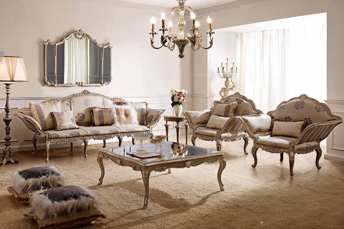 别墅蓝冠注册Andrea Fanfani高端法式雕刻布艺沙发套组