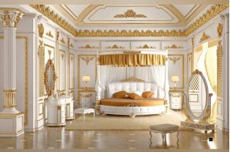 星级酒店蓝冠注册SIGNORINI&COCO新古典金色雕刻卧室系列