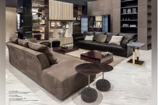 Longhi现代绒布艺客厅长沙发