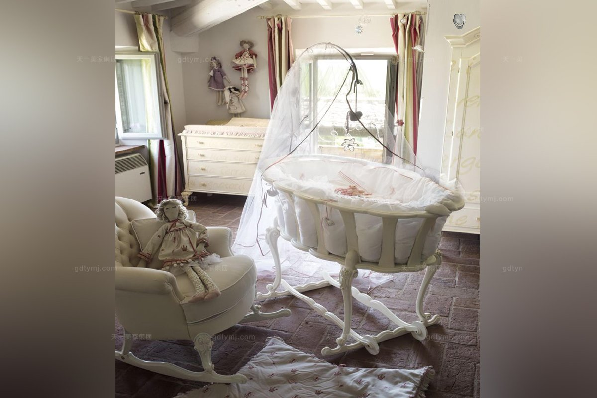 Volpi意大利进口法式白色婴儿吊床