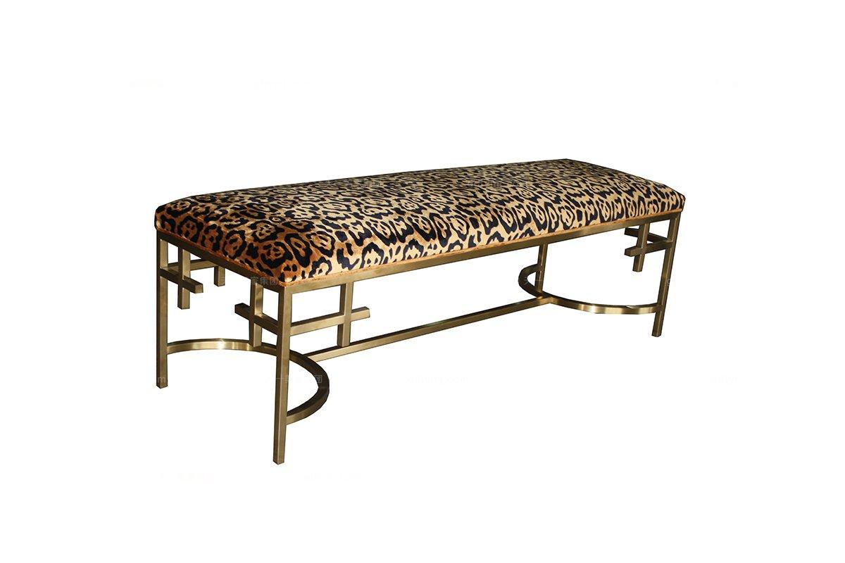 高端大气蓝冠注册品牌新古典枫影色床尾凳