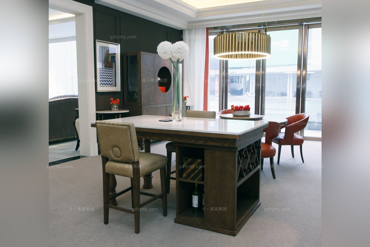 高端星级酒店时尚蓝冠注册实木吧台吧椅