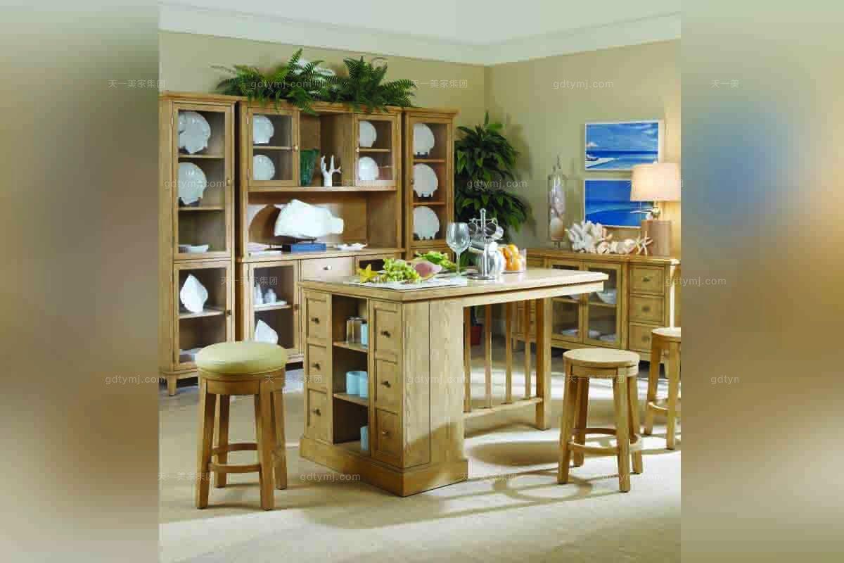 高端样板房蓝冠注册美式实木吧台