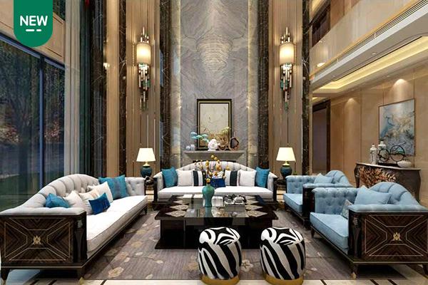 高端现代轻奢沙发实木客厅沙发 黑檀木皮拼花真皮沙发组合