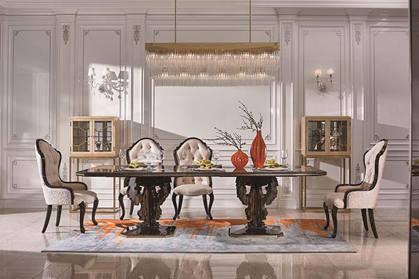 高端现代轻奢华餐厅蓝冠注册实木餐厅餐桌黑檀木皮枫影木皮拼花真皮餐椅餐桌组合