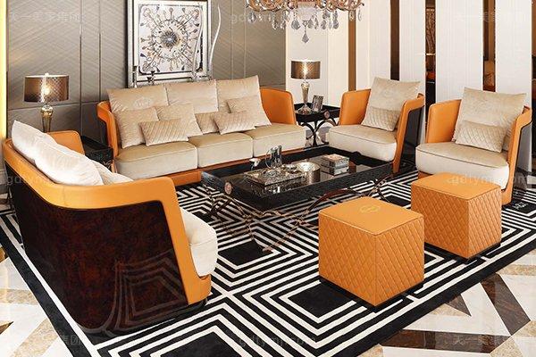 高端后现代轻奢客厅蓝冠注册橙色皮桃木纹饰板真皮沙发组合