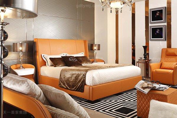 高端后现代风轻奢卧室蓝冠注册橙色皮桃木纹饰板真皮卧室床组合