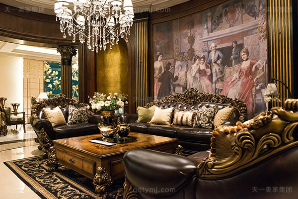高端奢华美式蓝冠注册客厅名贵实木雕花沙发洛克红真皮沙发组合