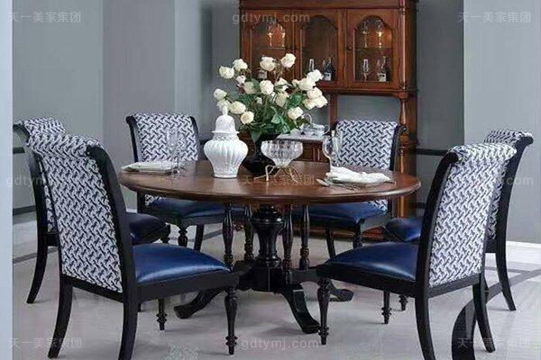高端小美式轻奢蓝冠注册客厅餐桌白腊实木餐桌真皮布艺餐椅组合