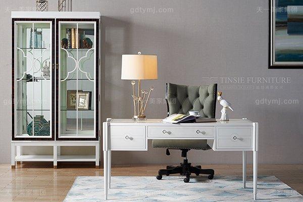 高端简美轻奢实木书桌书房书桌椅高端真皮巧克力色书桌椅组合