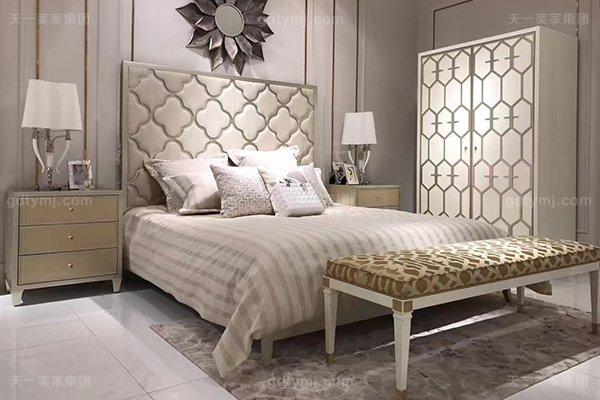 高端简约新古典蓝冠注册卧室银色大床系列组合
