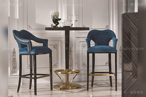 高端现代轻奢风蓝冠注册实木五金黑檀木皮拼花休闲吧台吧椅