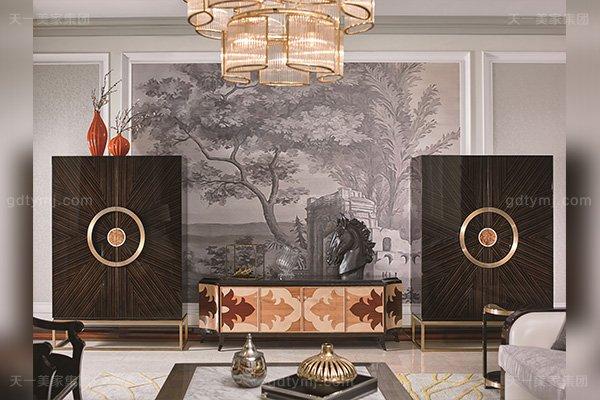 名贵别墅豪宅后现代轻奢风格客厅蓝冠注册枫影木皮拼花电视柜组合