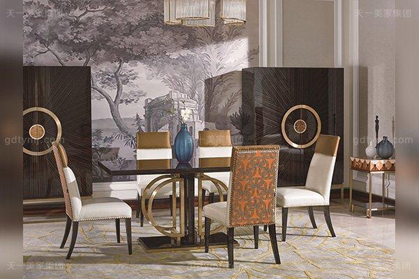 高端别墅后现代轻奢风格品牌蓝冠注册黑檀木皮拼花餐厅蓝冠注册餐桌椅组合