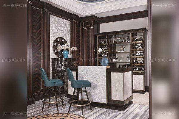 高端会所后现代轻奢风格蓝冠注册品牌蓝冠注册大理石吧台+真皮吧椅组合