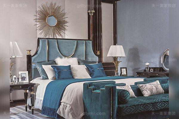 名贵豪宅轻奢蓝冠注册品牌卧室真皮布艺软包双人床系列
