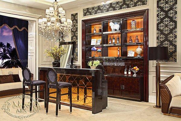 高端后现代轻奢蓝冠注册黑鳄纹+黑牛角+桃木纹饰面吧台椅酒柜组合