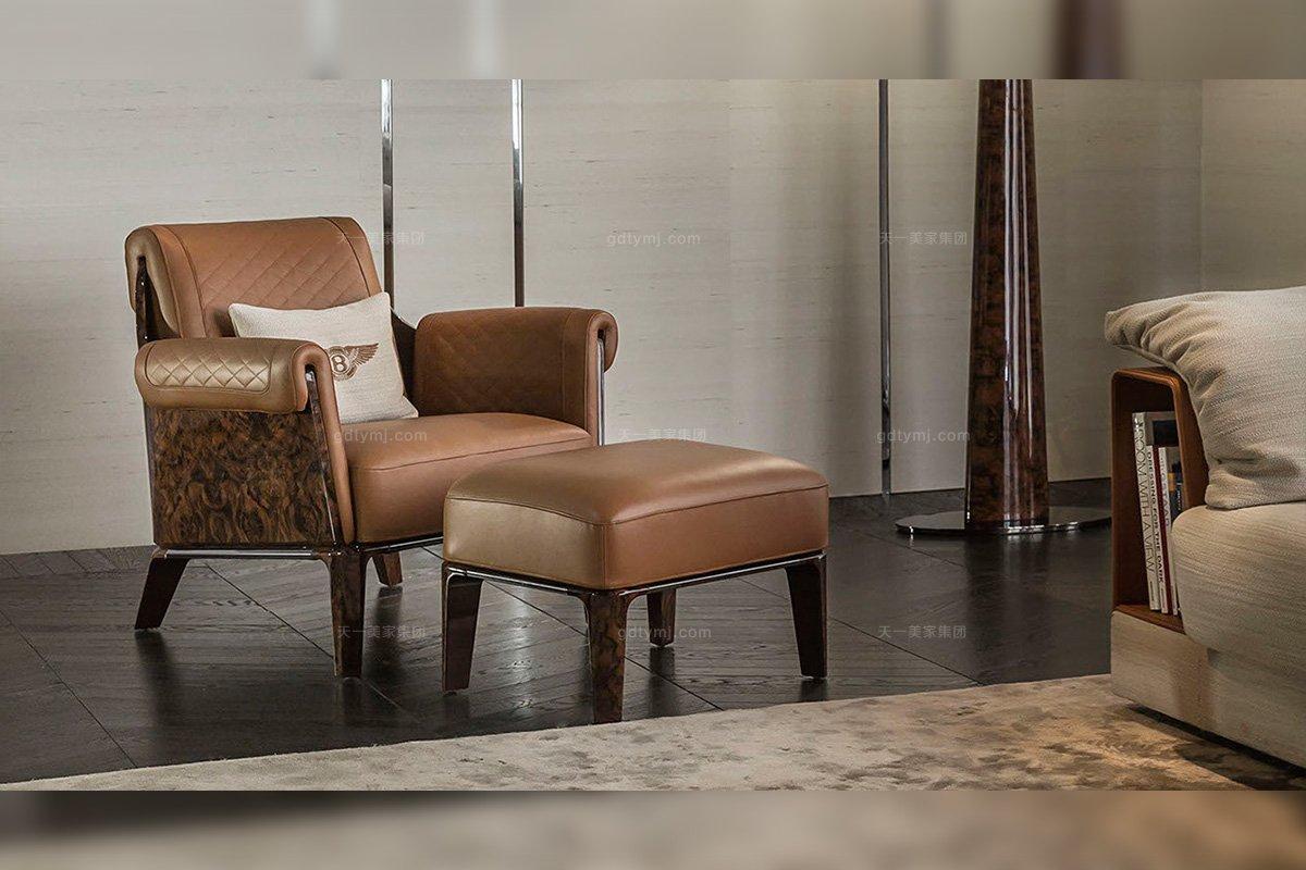 名贵奢华别墅豪宅品牌蓝冠注册真皮咖啡色休闲椅