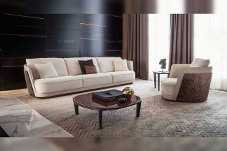 高端奢华品牌豪宅客厅蓝冠注册米白布艺软包三人位沙发单人位沙发茶几组合