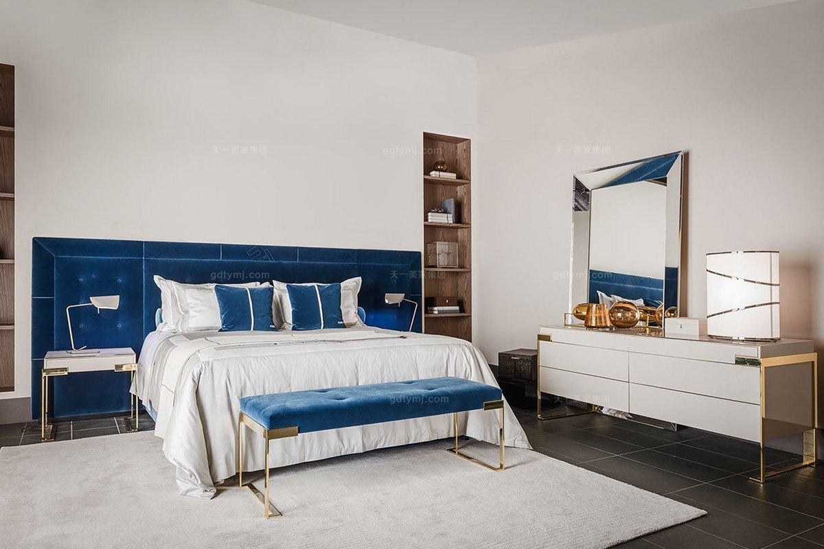 高端奢华奢华品牌蓝冠注册卧室蓝冠注册优质绒布艺双人床系列组合