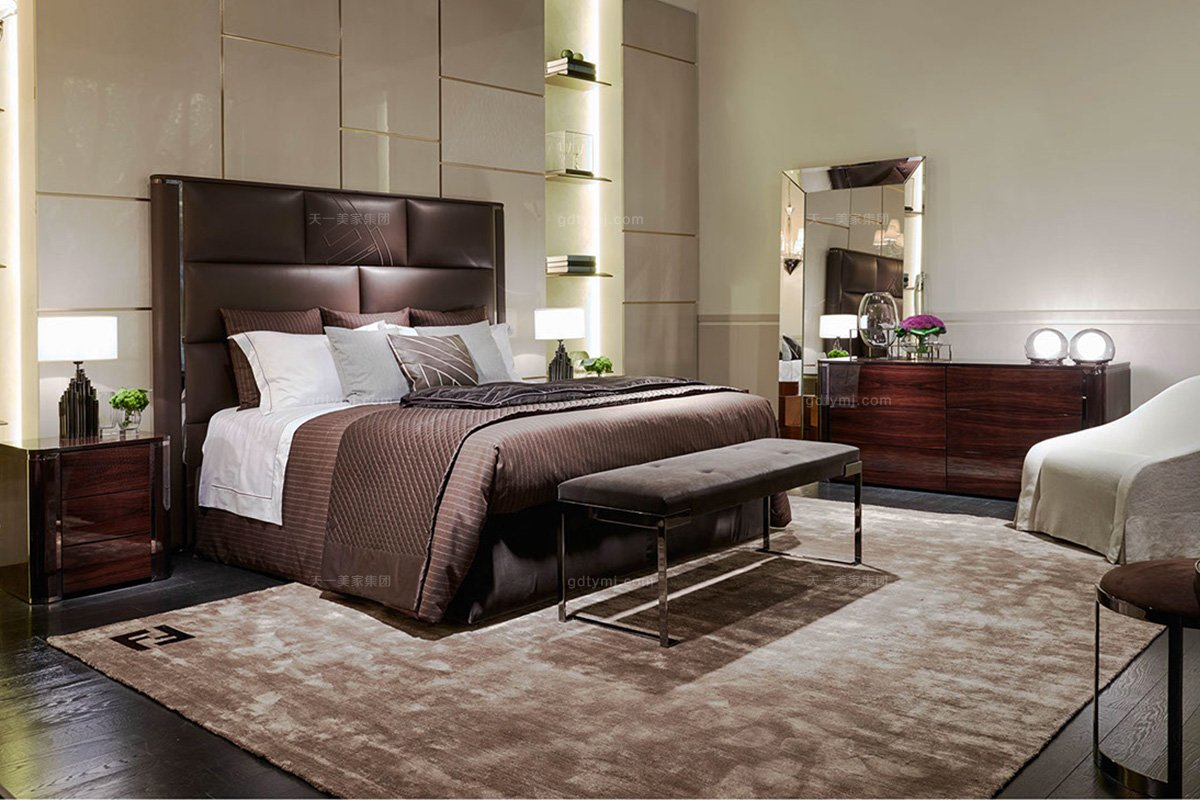高端奢华奢华品牌蓝冠注册卧室蓝冠注册棕色真皮双人床系列组合