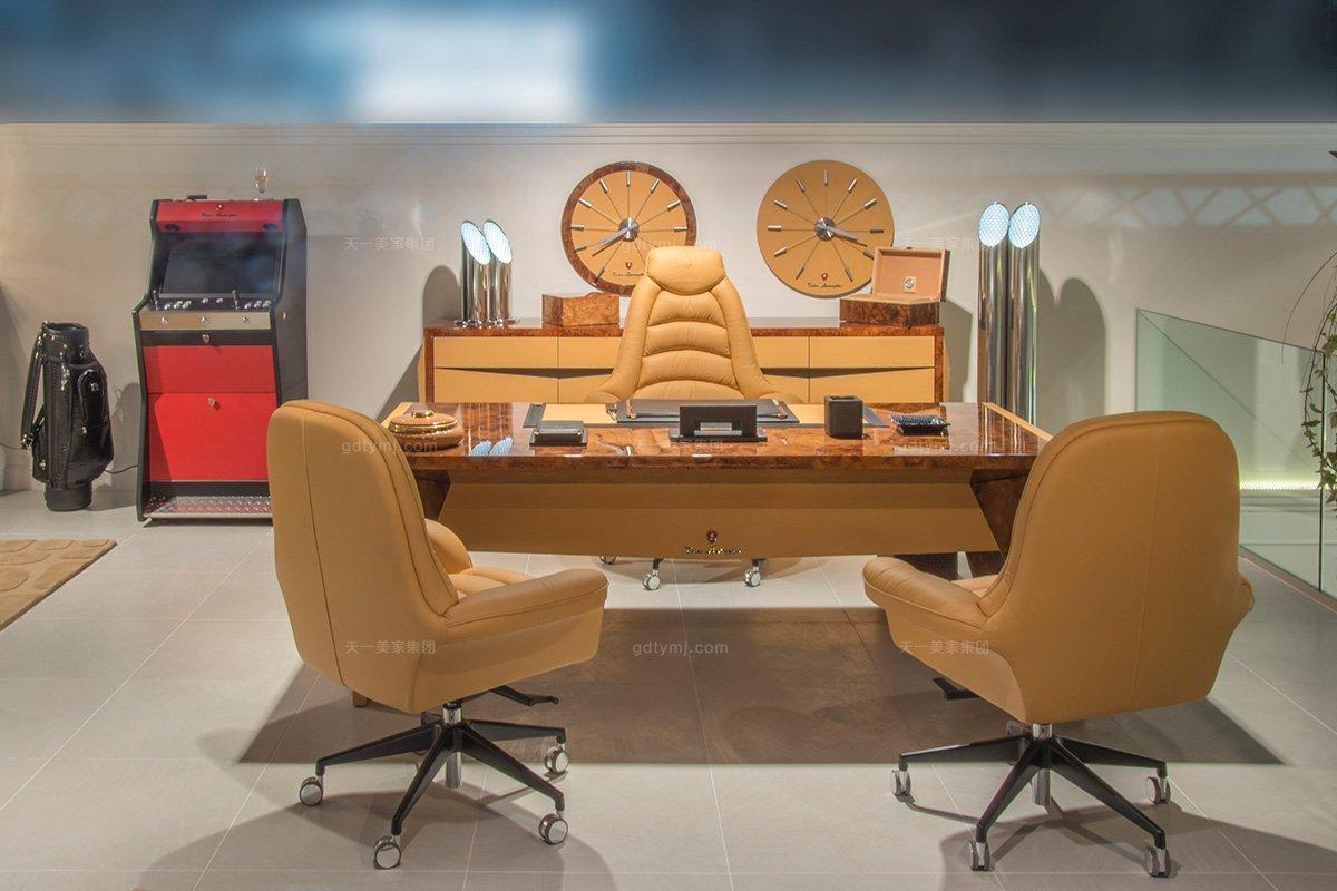 名贵奢华豪宅别墅蓝冠注册品牌兰博基尼爱马仕橙办公桌+真皮软包办公椅