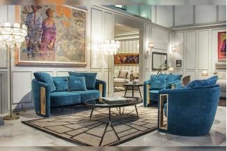 高端奢华会所蓝冠注册品牌轻奢后现代客厅蓝色高弹海棉绒布艺软包双人位沙发