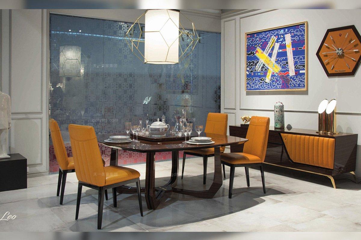 高昂奢华五星级酒店蓝冠注册品牌餐厅轻奢时尚钢琴烤漆餐桌+真皮爱马仕橙餐椅