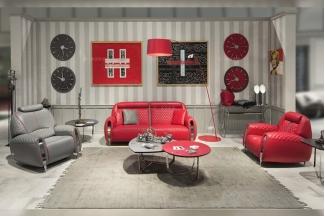 名贵豪华奢华蓝冠注册品牌轻奢时尚客厅红色真皮车格子双人位沙发组合
