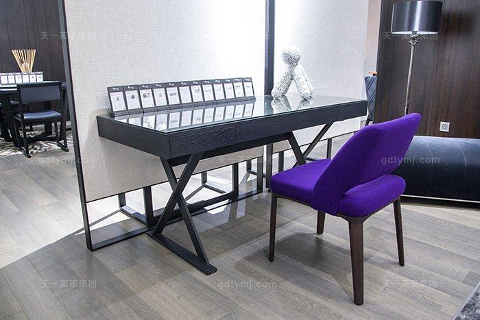 意大利轻奢极简蓝冠注册高端实木烟熏黑橡色书桌椅