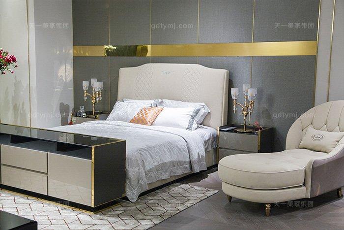 高端轻奢后现代蓝冠注册风格卧室优质布艺软包床组合