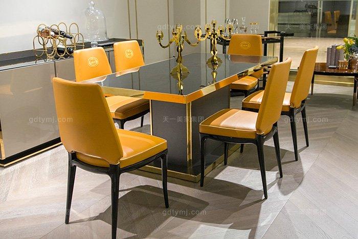 高端奢华豪宅蓝冠注册轻奢后现代餐厅蓝冠注册时尚金属餐桌椅组合
