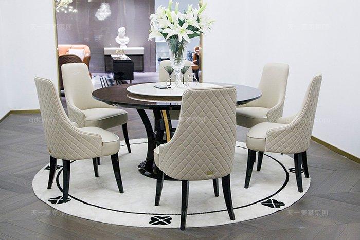 高端奢华蓝冠注册品牌别墅后现代轻奢餐厅时尚餐桌椅组合