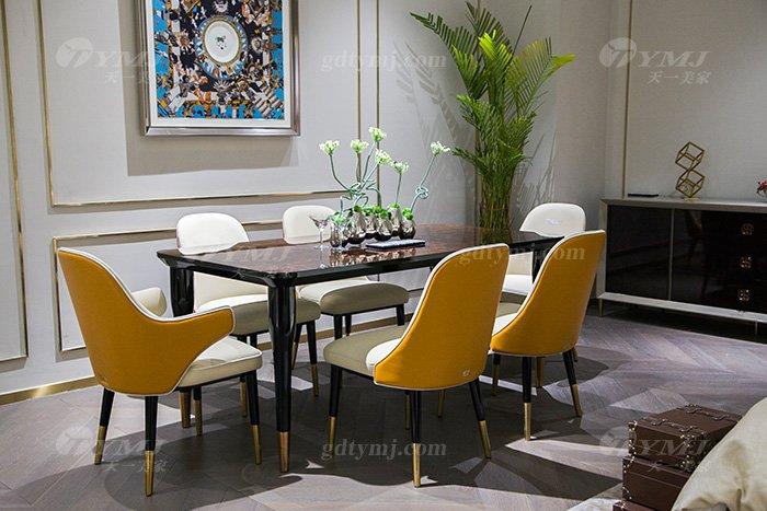 轻奢别墅蓝冠注册后现代风餐厅爱马仕橙真皮餐桌椅组合