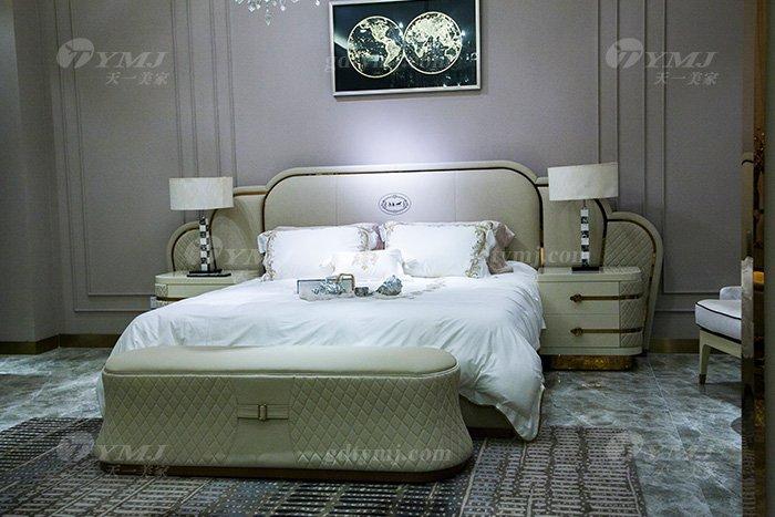 高端奢华别墅蓝冠注册轻奢品牌卧室后现代双人大床组合