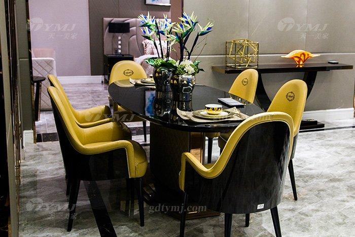 高端别墅轻奢后现代蓝冠注册品牌餐厅实木真皮餐桌椅组合