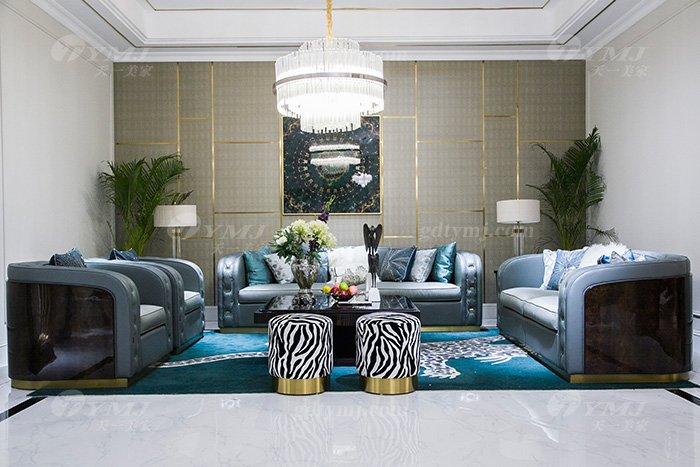 高端私家别墅蓝冠注册品牌轻奢现代客厅蓝冠注册时尚蓝色真皮沙发组合