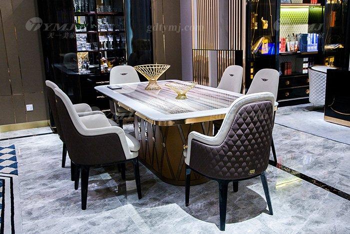 高端大气别墅蓝冠注册品牌样板间蓝冠注册客厅优质大理石面餐桌椅组合