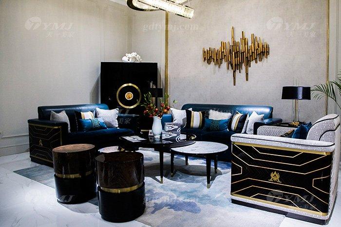 高端奢华蓝冠注册品牌别墅后现代轻奢蓝冠注册客厅真皮沙发组合