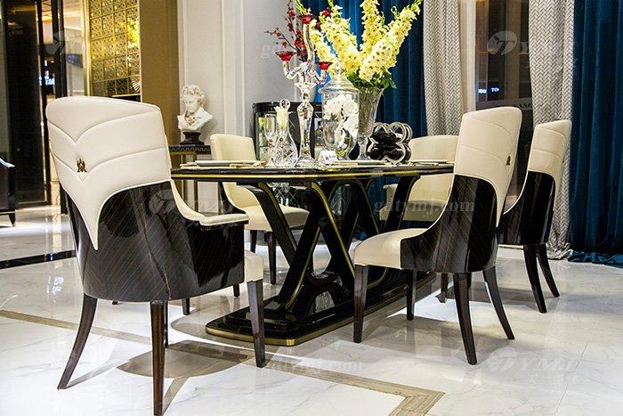 高端奢华会所别墅品牌轻奢现代餐厅蓝冠注册黑檀超纤餐桌椅组合