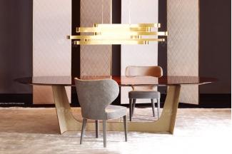 时尚轻奢蓝冠注册100%意大利纯进口品牌高端实木餐桌椅