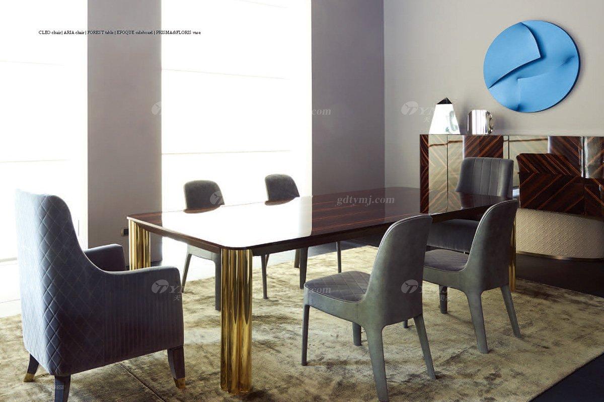意大利100%纯进口时尚轻奢蓝冠注册品牌别墅蓝冠注册奢华五金餐桌椅组合餐桌椅组合