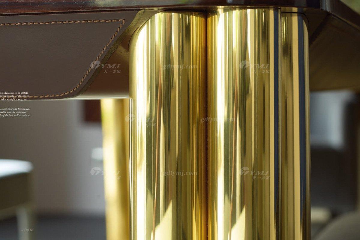 意大利100%纯进口时尚轻奢蓝冠注册品牌别墅蓝冠注册奢华五金餐桌椅组合餐桌五金细节
