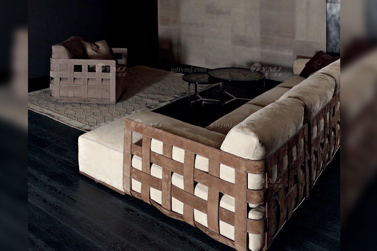 高端意大利纯进口蓝冠注册品牌别墅客厅高弹海棉灰色布艺组合沙发组合沙发1